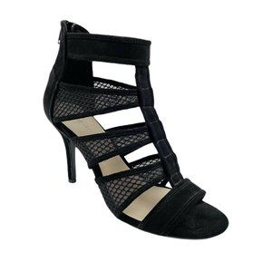 Nine West Black Suede Caged Peep Toed Heels Size 8